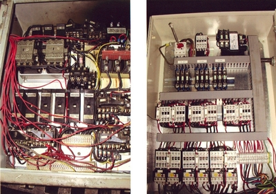 Electrical panel before and after refit